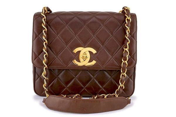 aa644b77ee Chanel Vintage Chestnut Brown Quilted Classic Crossbody Flap Bag 24k GHW
