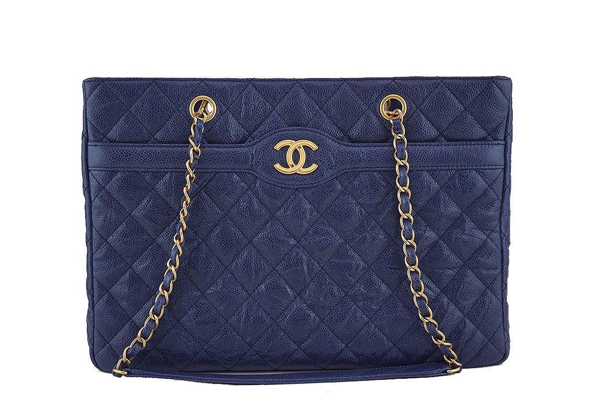 Chanel Navy Blue Caviar Classic Quilted Shopper Tote Bag