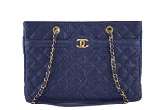 Chanel Navy Blue Caviar Classic Quilted Shopper Tote Bag - Boutique Patina  - 1