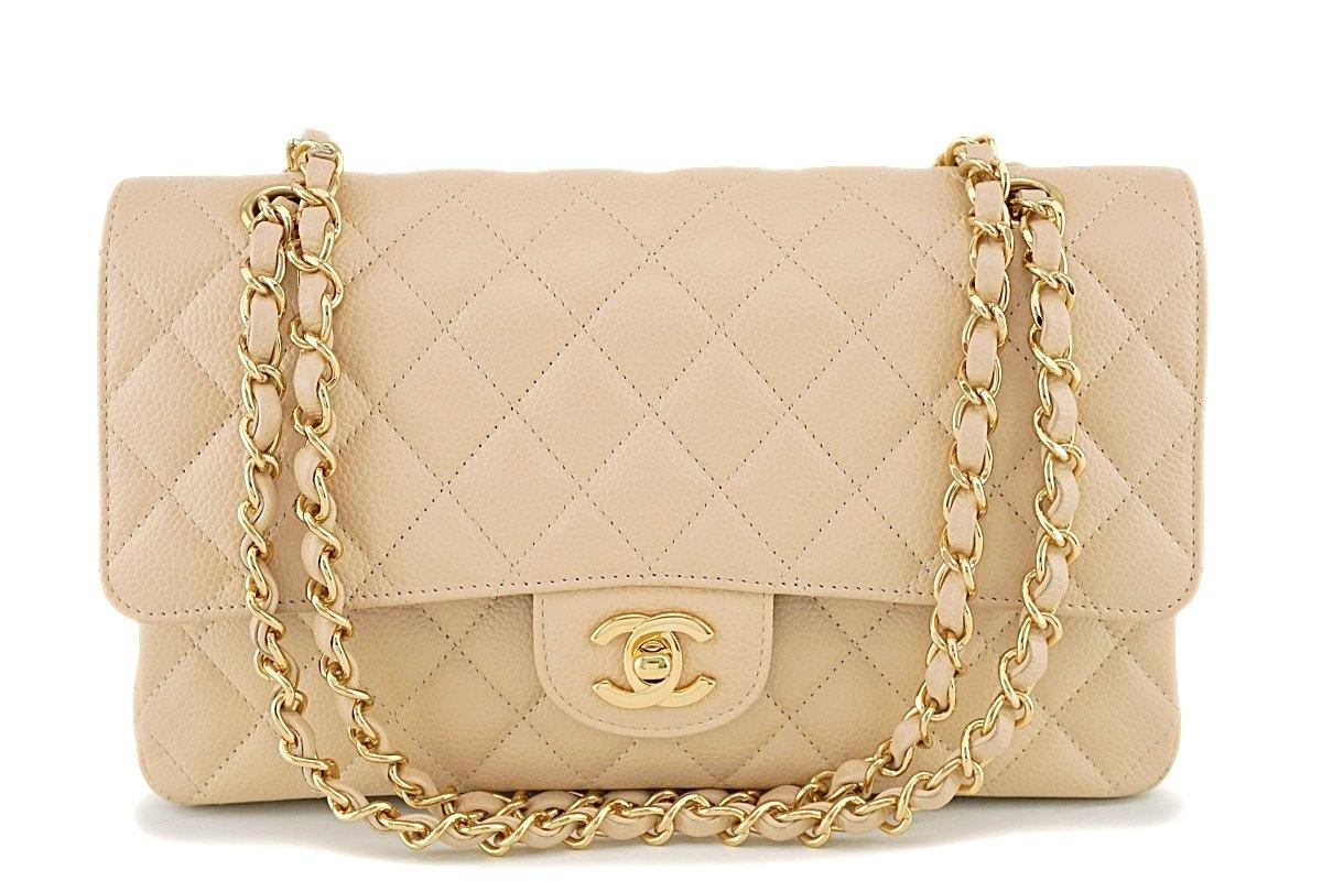 Chanel Beige Clair Caviar Medium Classic Double Flap Bag GHW