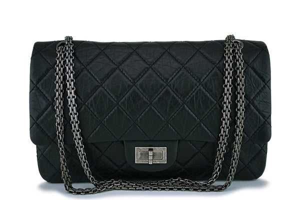 Chanel Black Aged Calfskin Reissue 227 Classic 2.55 Double Flap Bag RHW