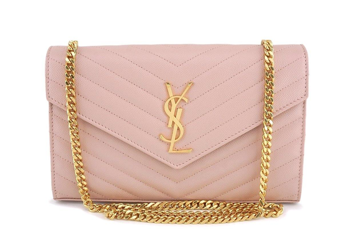 YSL Saint Laurent Nude Pink Powder Beige Grain de Poudre Wallet on Chain WOC Bag SHW