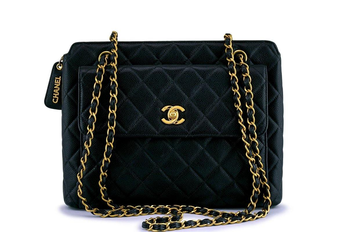 Chanel Black Vintage Caviar Classic Quilted Flap Shopper Tote Bag - Boutique Patina