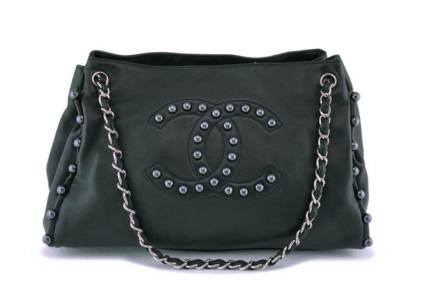 Chanel Black Soft Lambskin Pearl Obsession Tote Bag SHW