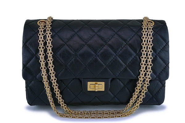 Chanel Black Aged Calfskin 226 Reissue 2.55 Classic Double Flap Bag GHW