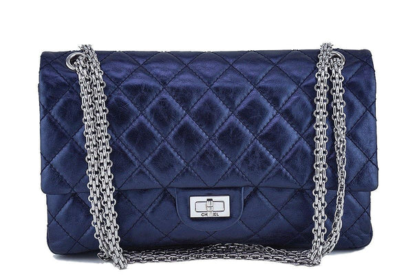 Chanel Metallic Navy Blue Calf 226 Classic Reissue 2.55 Flap Bag