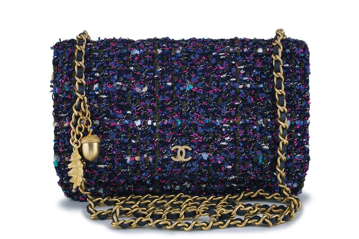 NIB 18K Chanel Purple Tweed Wallet on Chain w/Charms WOC Mini Flap Bag GHW