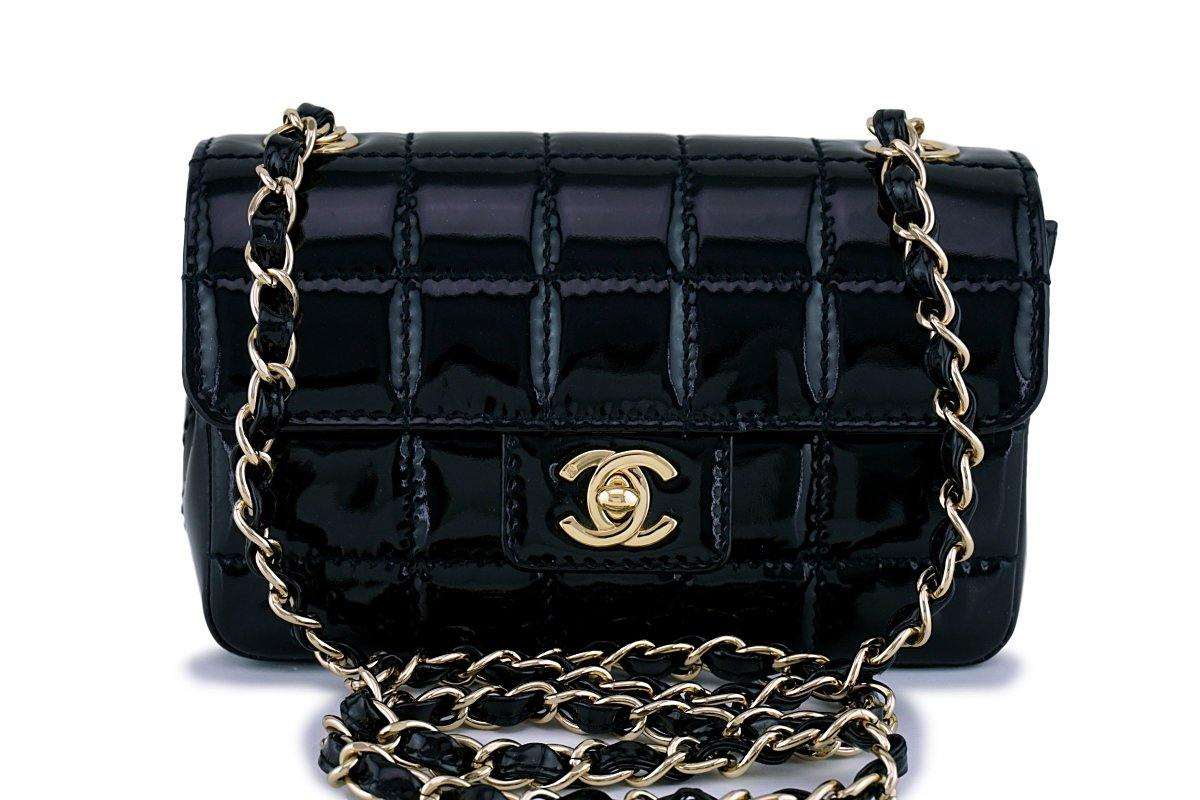 8e23841d622480 Chanel Black Patent Quilted Extra Mini Flap Bag 18k gold plated
