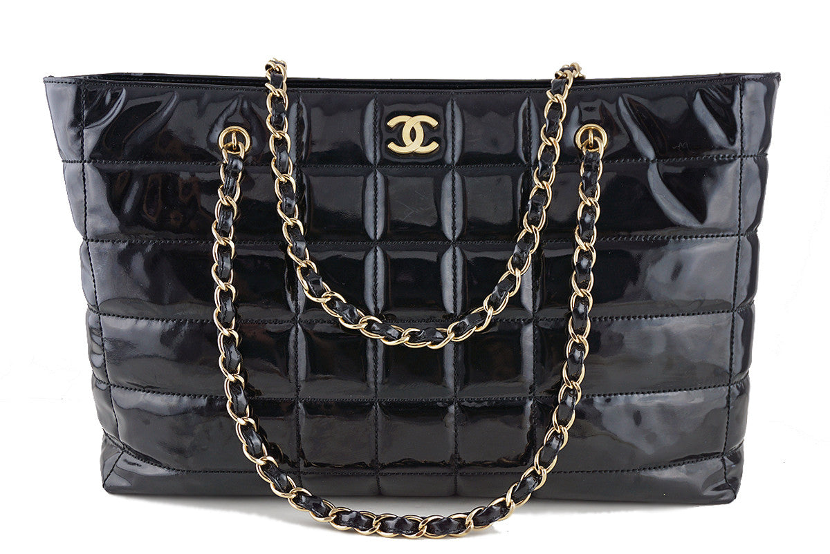 Chanel Black Patent Chocolate Bar Quilted XL Shopper Tote Bag