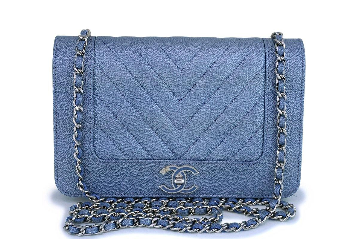 NIB 19P Chanel Iridescent Pearly Blue Caviar Mademoiselle Chevron Wallet on Chain WOC Bag