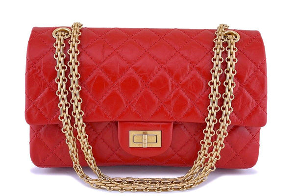 NIB 18K Chanel Red 2.55 Medium Small 225 Reissue Classic Double Flap Bag GHW