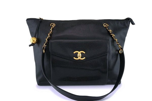 Chanel Vintage Black Caviar Flap-Tote Shopper Bag 24k GHW