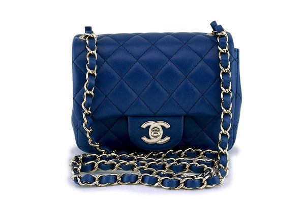 NIB 18C Chanel Blue Classic Quilted Square Mini 2.55 Flap Bag GHW