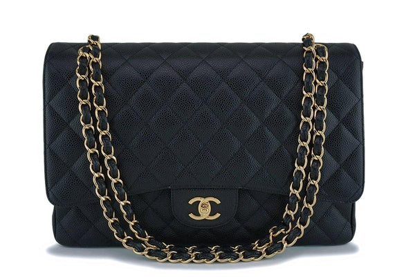 "Chanel Black Caviar Maxi ""Jumbo XL"" Classic Flap Bag GHW"