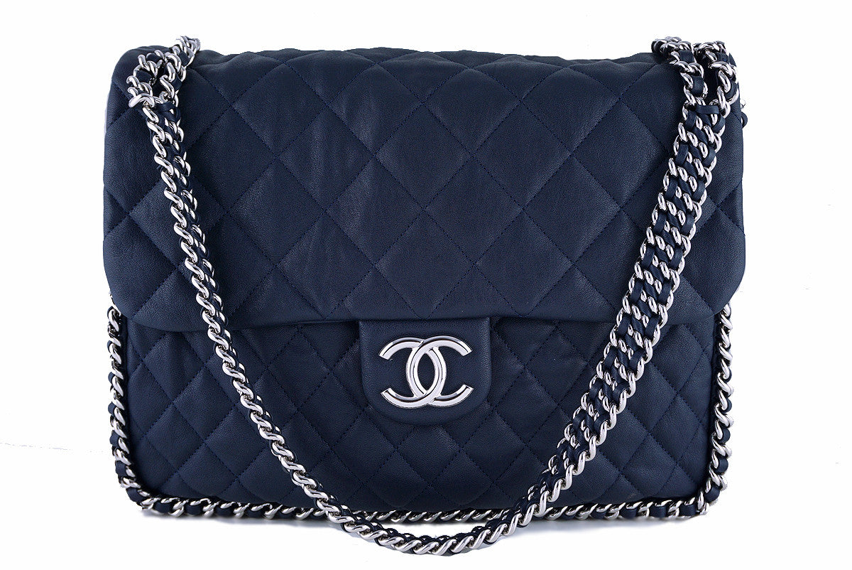 Chanel Navy Blue Chain Around Maxi Luxe Flap Bag