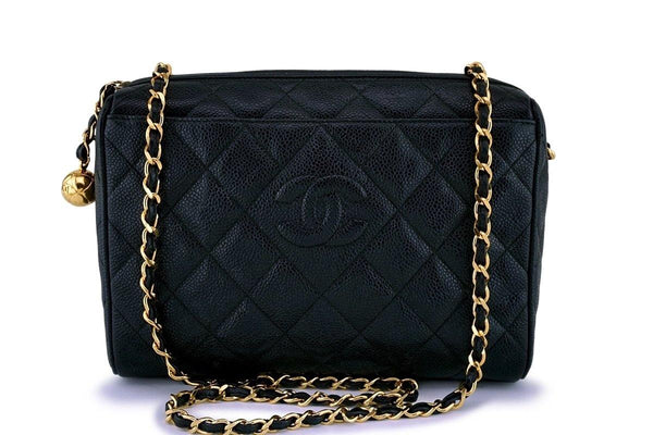 Chanel Vintage Black Caviar Classic Camera Case Bag