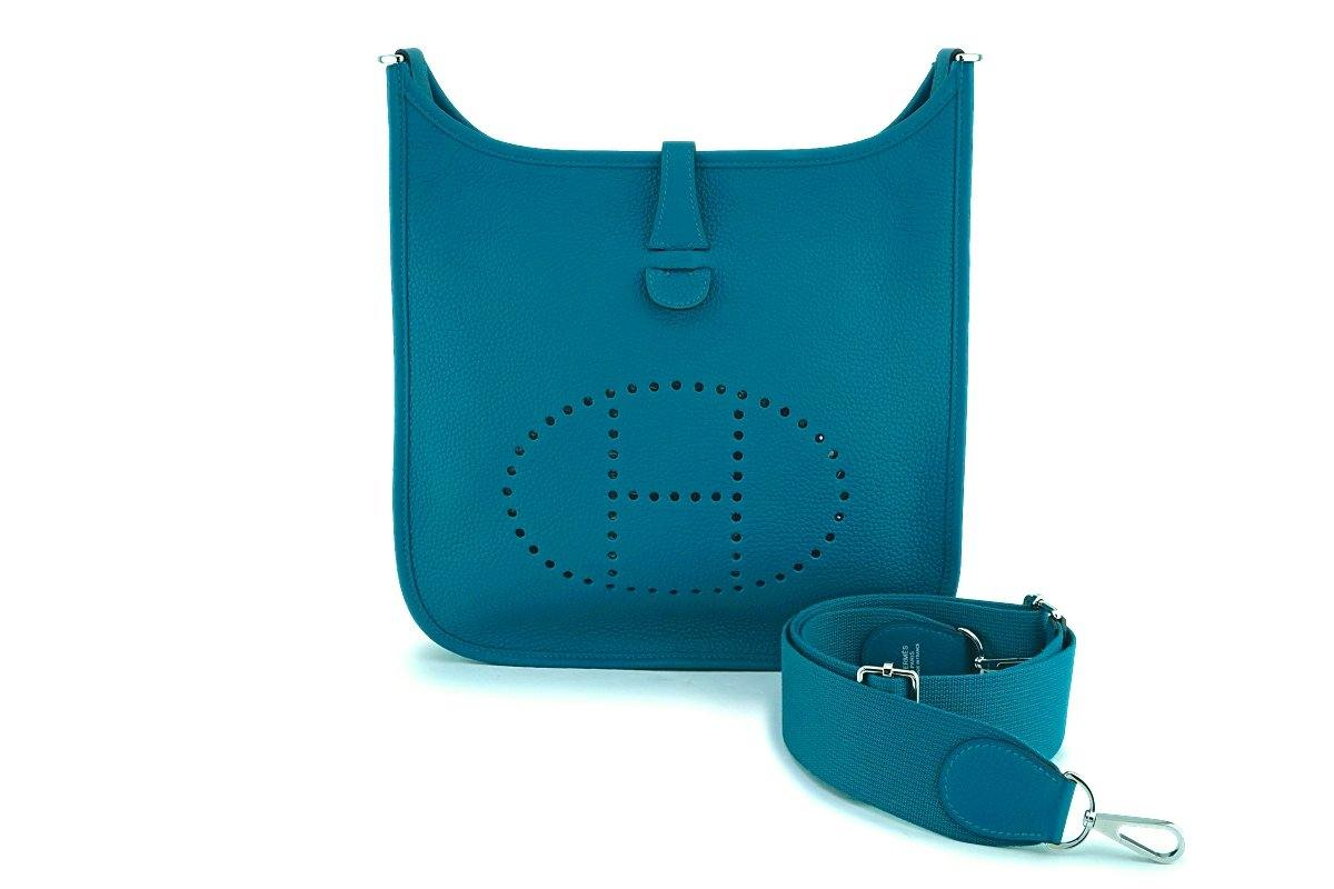 NIB Hermes Blue Green Vert Bosphore Evelyne III PM 29cm Bag PHW