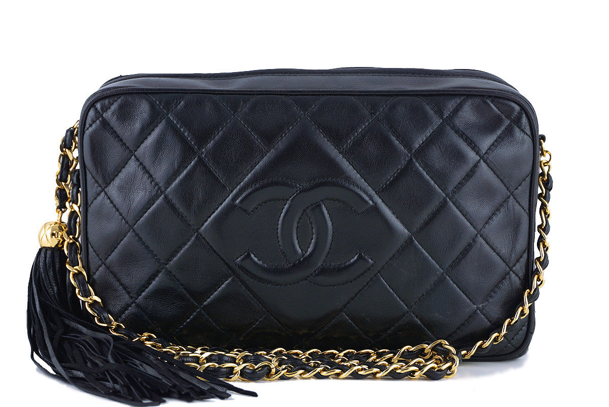 Chanel Black Classic Quilted Camera Case, Lambskin Bag