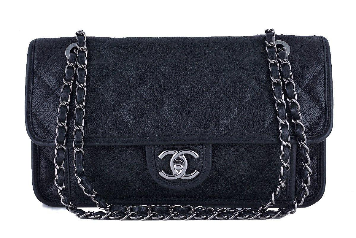 Chanel Black Caviar Classic French Riviera Flap Bag