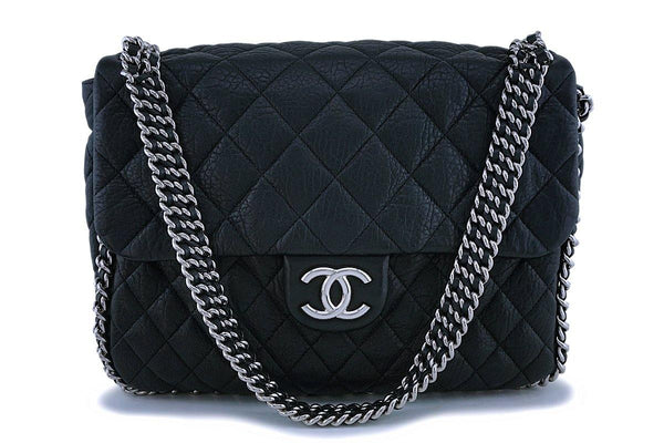 Chanel Black Calfskin Maxi Jumbo XL Luxe Chain Around Flap Bag SHW
