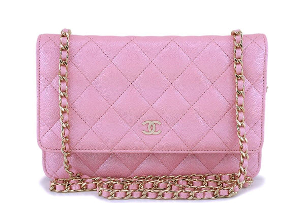 NIB 19S Chanel Pearly Iridescent Pink Caviar Classic Wallet on Chain WOC Bag GHW