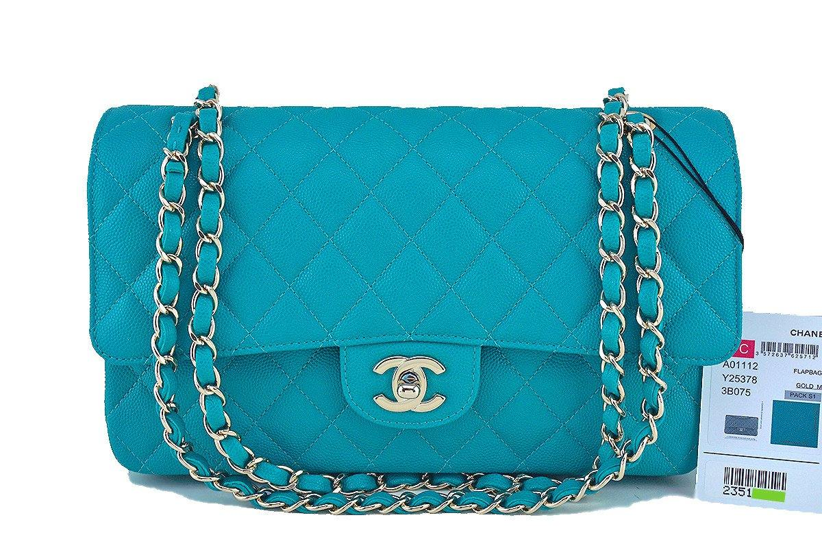 17C Chanel Turquoise Caviar Medium Classic 2.55 Double Flap Bag