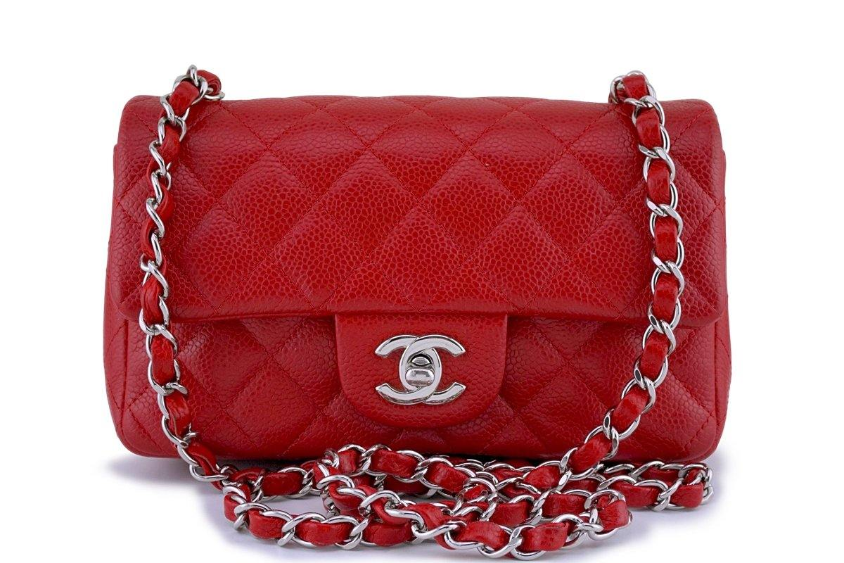 Chanel 14C Red Caviar Classic Quilted Rectangular Mini 2.55 Flap Bag SHW