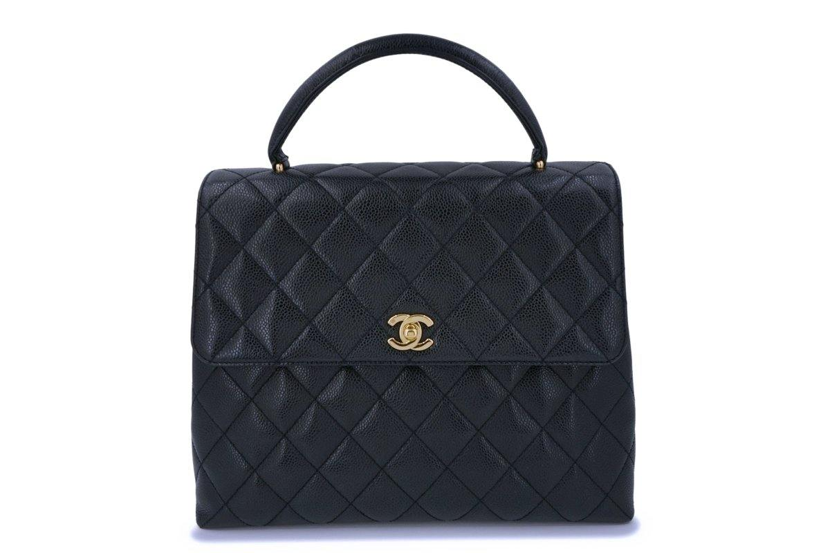 Chanel Black Caviar Large Kelly Flap Tote Bag 24k GHW - Boutique Patina