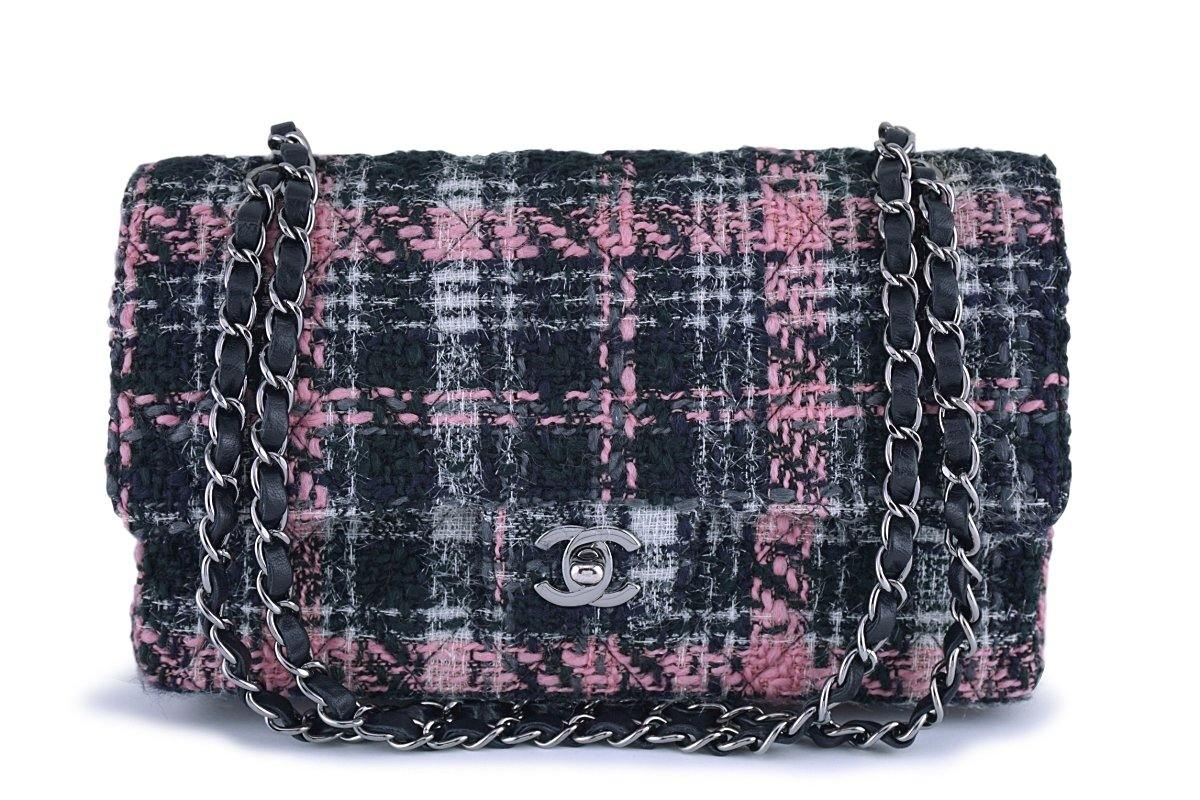 Chanel Gray Pink Tweed Medium Classic 2.55 Double Flap Bag