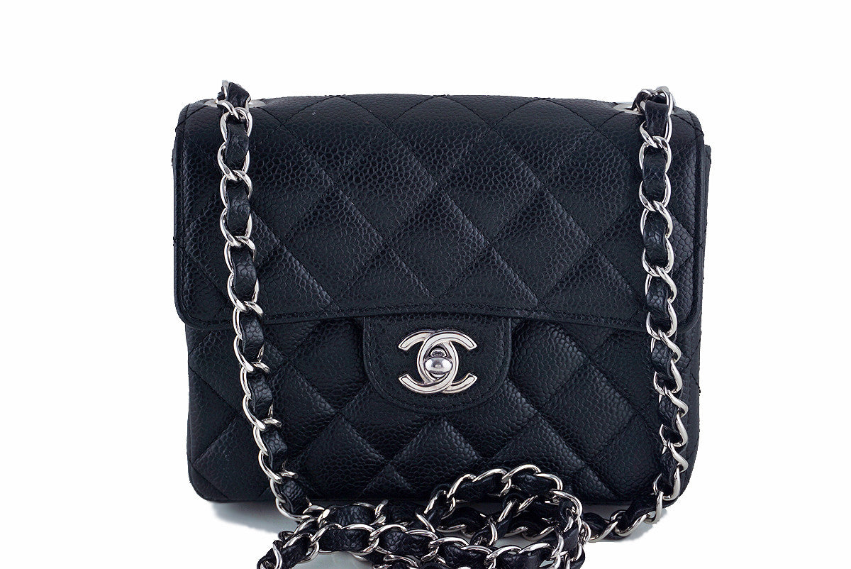 Chanel Black Caviar Classic Quilted Square Mini 2.55 Flap Bag - Boutique Patina  - 1