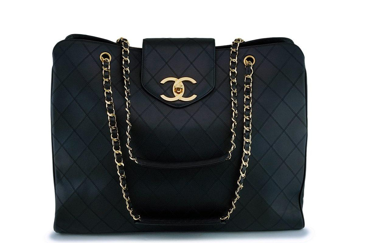 *rare condition* Chanel Vintage Black Weekender Supermodel XL Shopper Tote Bag 24k GHW