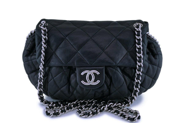 Chanel Black Textured Calf Medium Chain Around Crossbody Flap Bag SHW