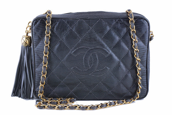Pristine Chanel Vintage Lizard Gray Classic Quilted Camera Case Bag, Rare Condition