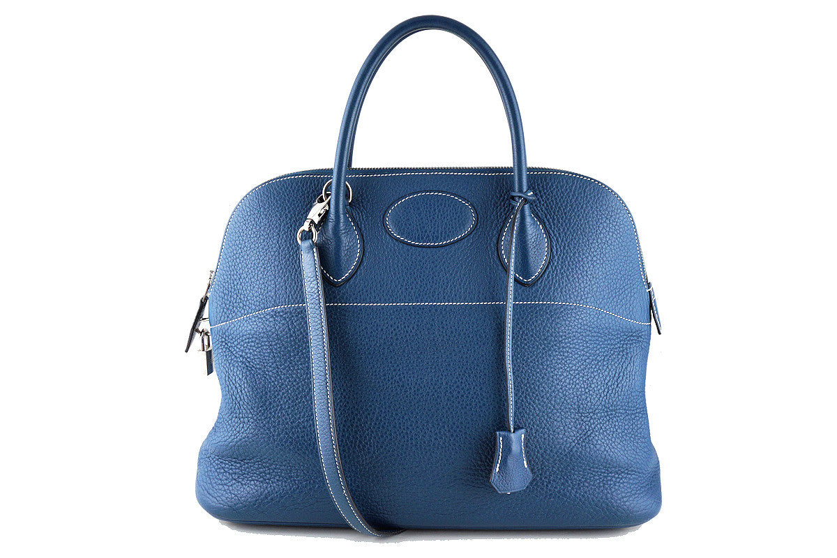 Hermes Blue Thalassa Clemence 35/37cm Mou Bolide Shoulder Tote Bag - Boutique Patina  - 1