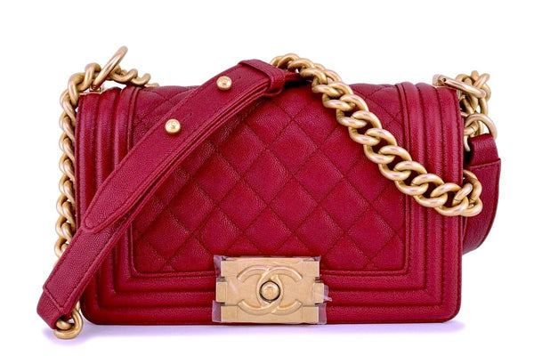40c3ec556f57 New 18B Chanel Dark Red Caviar Small Classic Boy Flap Bag GHW