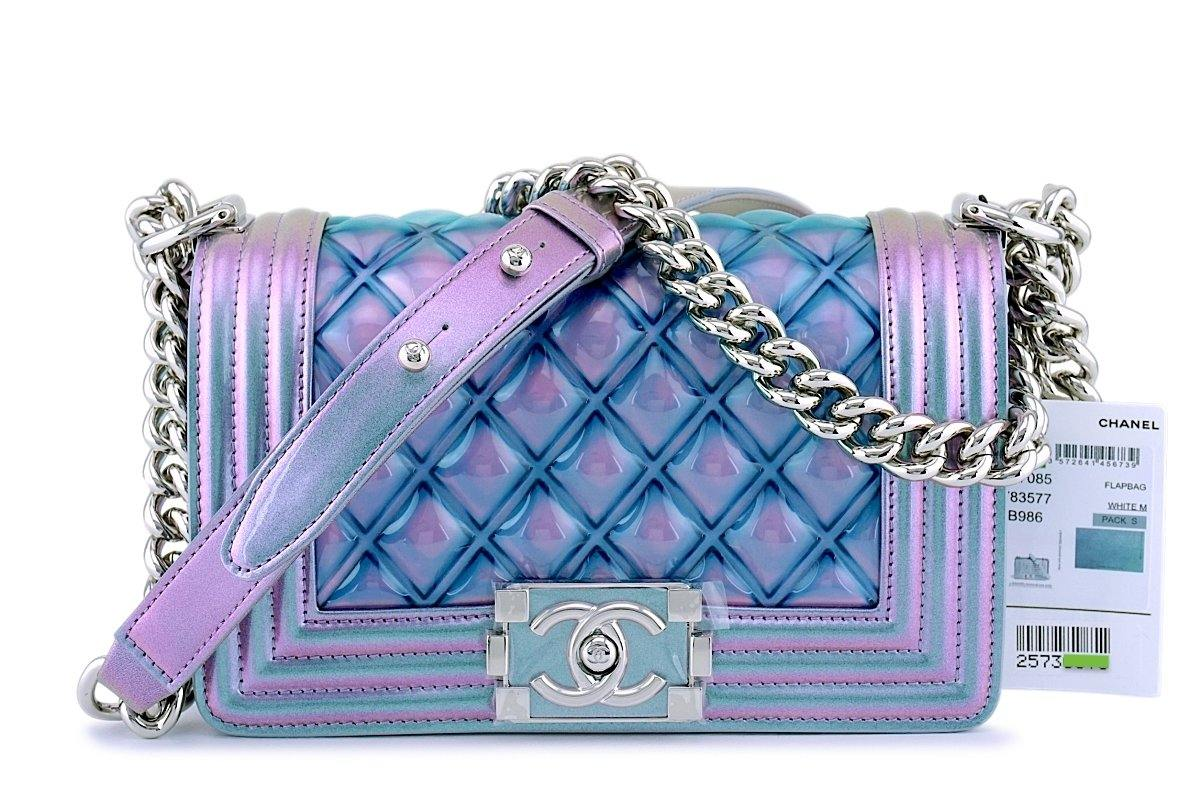 NWT 18S Chanel Purple Patent Mermaid Rainbow Classic Small Boy Flap Bag