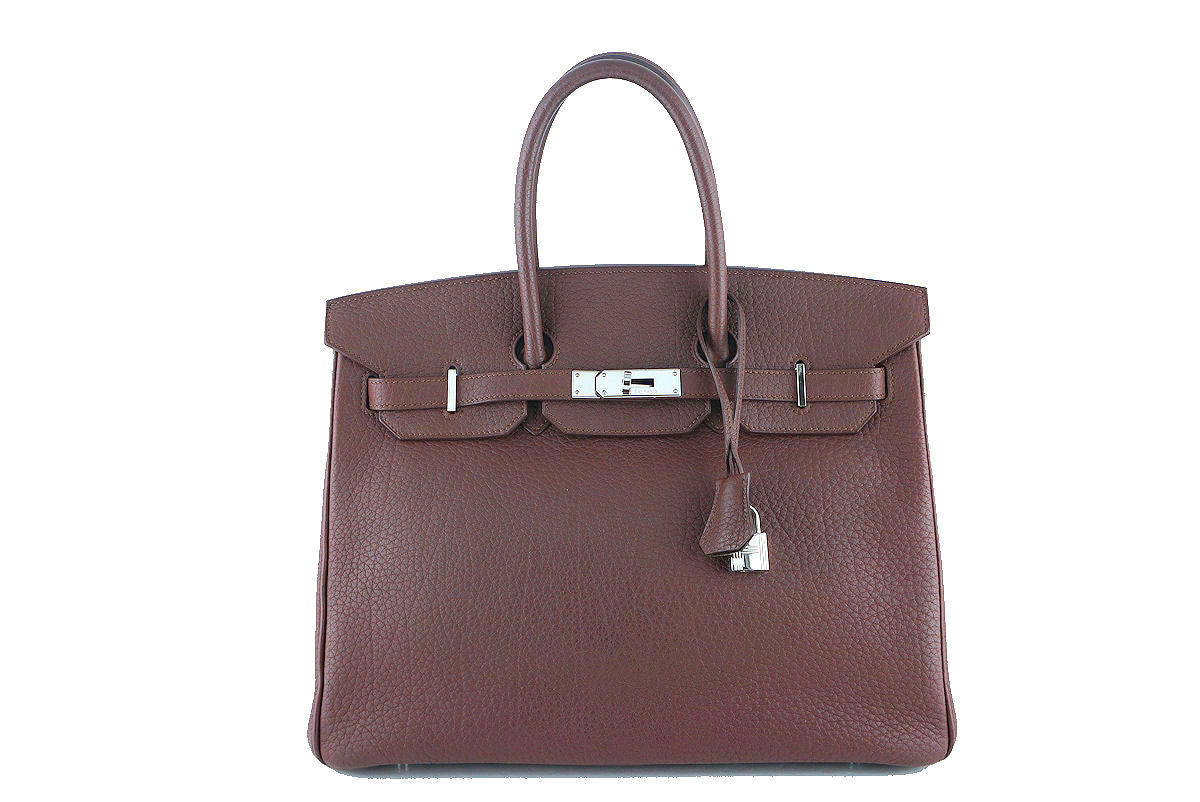Hermes Chocolate Brown Fjord 35cm Birkin Bag PHW