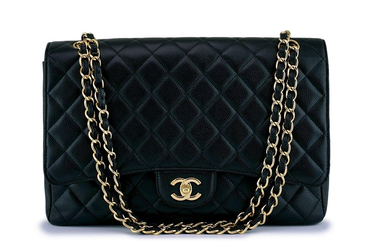 "Chanel Black Caviar Maxi Quilted Classic ""Jumbo XL"" Flap Bag GHW"