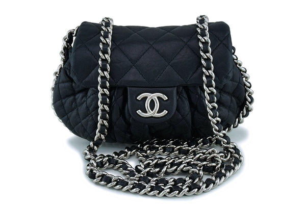 Chanel Black Mini/Small Chain Around Rounded Classic Cross Body Flap Bag