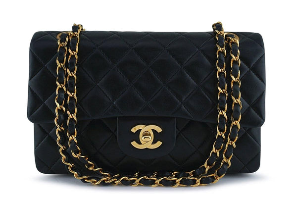 Chanel Black Lambskin Small Classic 2.55 Double Flap Bag