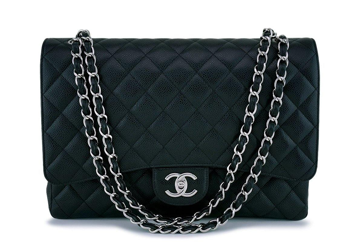 "Chanel Black Caviar Maxi Double Flap ""Jumbo XL"" Bag SHW"