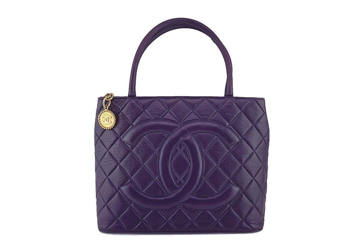 Chanel Purple Luxe Lambskin Quilted Medallion Shopper Tote Bag