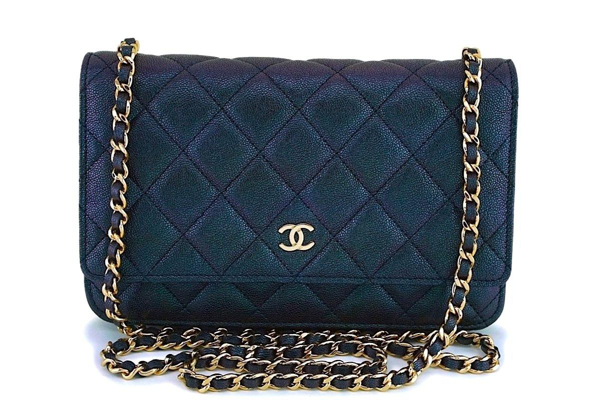 NIB 19S Chanel Iridescent Black-Purple Caviar Classic Wallet on Chain WOC GHW