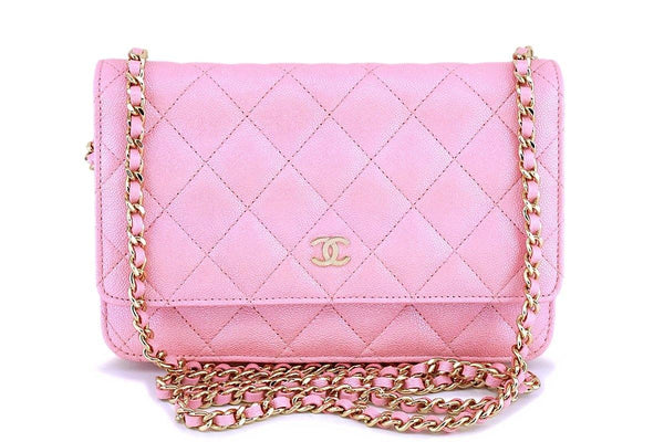 NIB 19S Chanel Iridescent Pearly Pink Classic Wallet on Chain WOC Flap Bag GHW