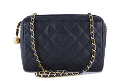 Chanel Vintage Caviar Black Classic Quilted Camera Case Bag