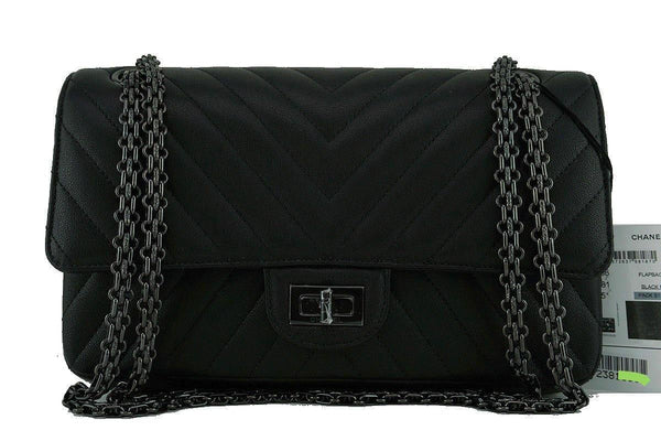 NWT 17P Chanel So Black Chevron Classic Reissue 2.55 Double Flap 225 Bag