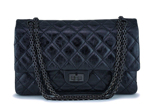 Chanel Metallic So Black 2.55 Reissue Classic Medium Double Flap Bag