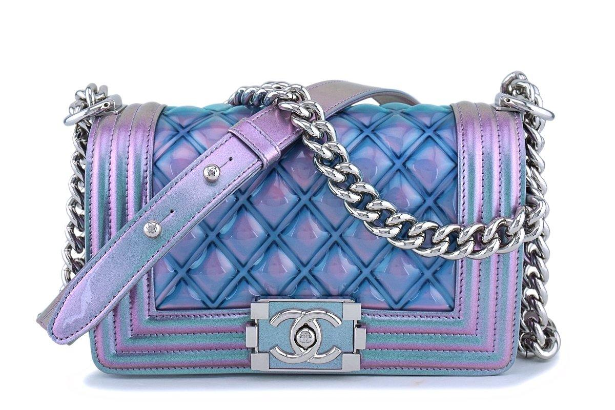 18S Chanel Iridescent Purple Mermaid Small Classic Water Boy Flap Bag SHW - Boutique Patina