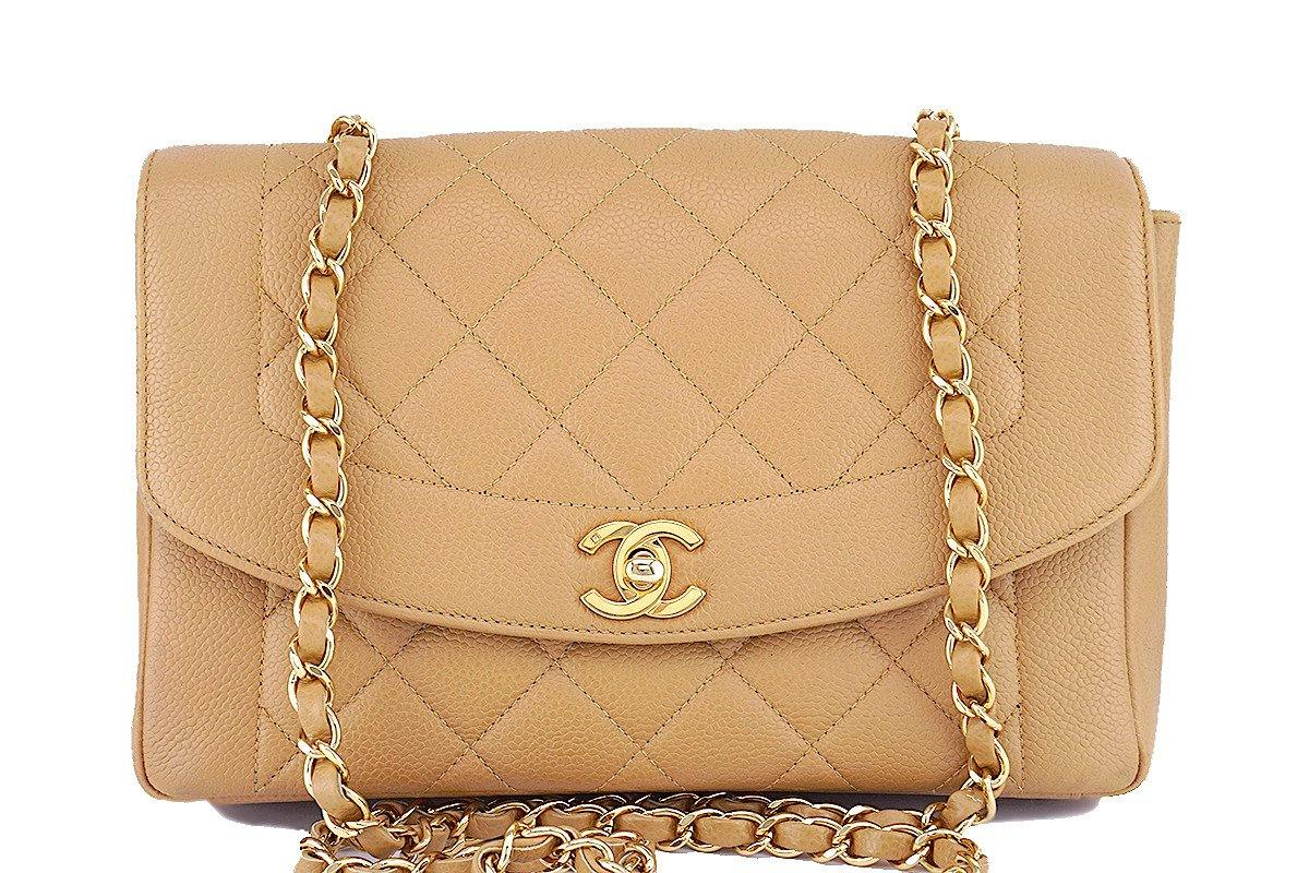45ed2cf89156 Rare Chanel Beige Caviar Vintage Classic Pocket