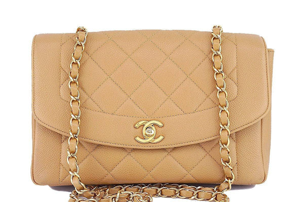"Rare Chanel Beige Caviar Vintage Classic Pocket ""Diana"" Shoulder Flap Bag"